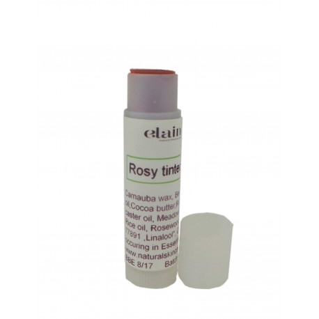 Rosy tinted lip balm tube